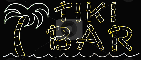 Tiki Bar Sign stock photo, A neon glowing tiki bar sign by Stephen Bonk