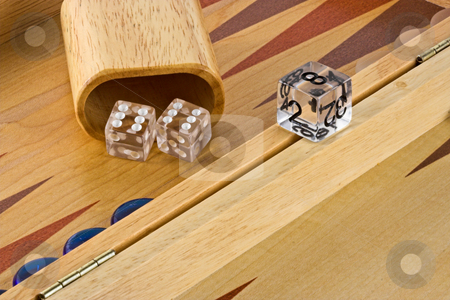Backgammon stock photo, Backgammon board with a roll of double sixes. by Stephen Bonk