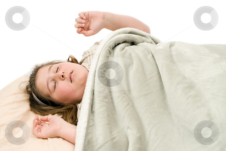 Dreaming stock photo, A young girl sleeping and having bad dreams, isolated against a white background by Richard Nelson