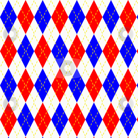 Harlequin checks pattern stock photo, Texture of bright blue and red checks with yellow stitch by Wino Evertz