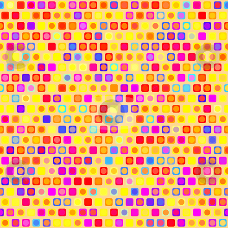 Festive pattern stock photo, Seamless texture of square and round shapes in warm colors by Wino Evertz