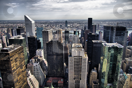 Nyc Skyscrapers stock photo, New York skyline in the Manhattan district by R Deron