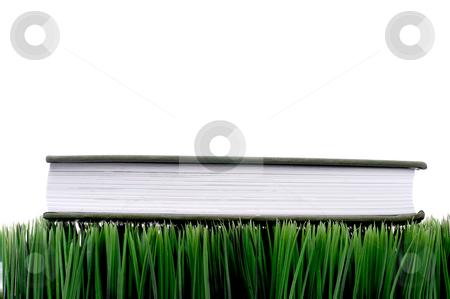 Green hardcover book sitting on grass with a white background stock photo, Green hardcover book sitting on grass with a white background by Vince Clements