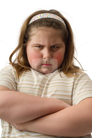 Moody Kid stock photo, Closeup view of a moody child with her arms crossed, isolated against a white background by Richard Nelson