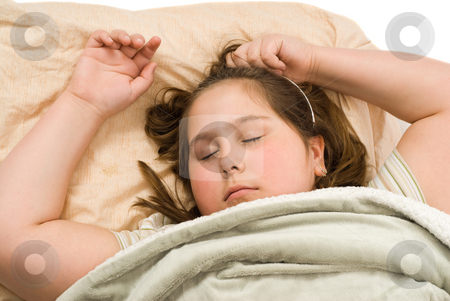 Sleeping stock photo, Closeup view of a young girl sleeping in her bed by Richard Nelson