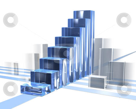 Bar chart in motion stock photo, Bar chart in motion for business with transparent over white by Fabian Kerbusch
