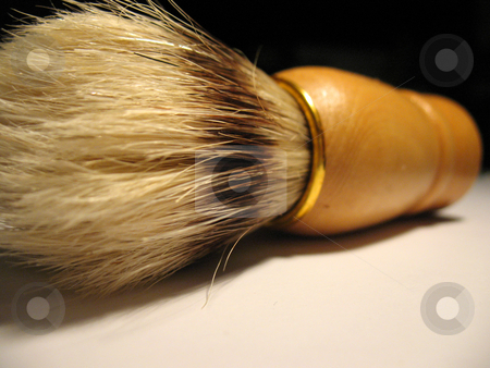Shaving brush stock photo, A close detail of shaving brush made of wood and animal hair by Tudor Antonel adrian