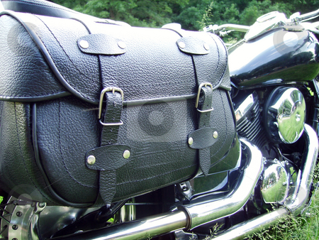 Bike Bag stock photo, The leather saddle bag used on a motorcycle by Tudor Antonel adrian