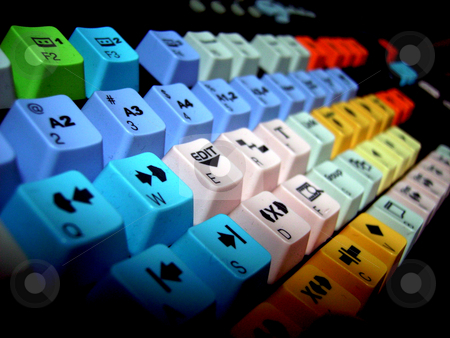 Video Keyboard stock photo, An image with a video editing colorful keyboard by Tudor Antonel adrian