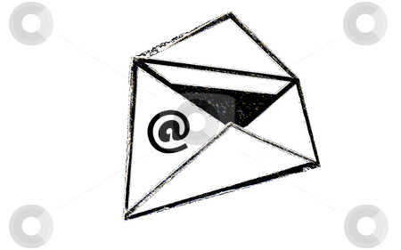 Cartoon Envelope stock photo, Cartoon envelope with email symbol. Open Envelope on white background by Tudor Antonel adrian