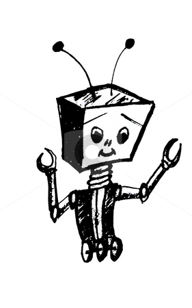 Cartoon Robot stock photo, Black and white cartoon robot with antenna standing and smiling by Tudor Antonel adrian