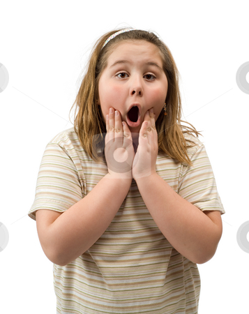 Shocked Girl stock photo, A young girl with a shocked expression has hands on her face by Richard Nelson