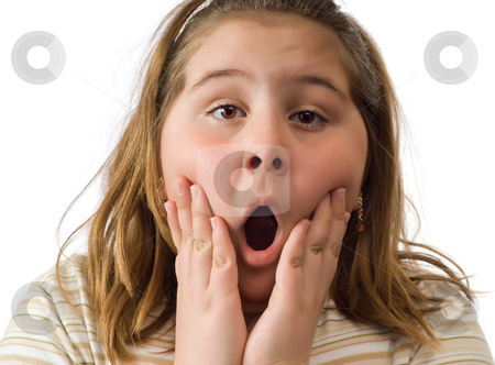 Surprised Girl stock photo, Closeup view of a young girl with a surprised expression on her face, isolated against a white background by Richard Nelson