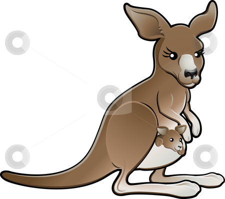 Cute Vector Kangaroo Illustration stock vector clipart, A cute vector illustration of a kangaroo with a joey in its pouch by Christos Georghiou