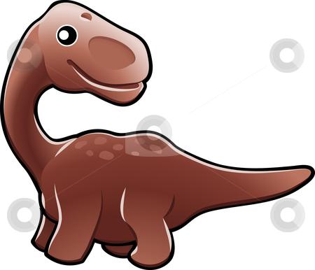 Cute diplodocus dinosaur illustration stock vector clipart, A vector illustration of a cute friendly diplodocus dinosaur by Christos Georghiou