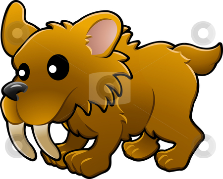 Cute sabre tooth tiger illustration stock vector clipart, A vector illustration of a cute friendly sabre tooth tiger by Christos Georghiou