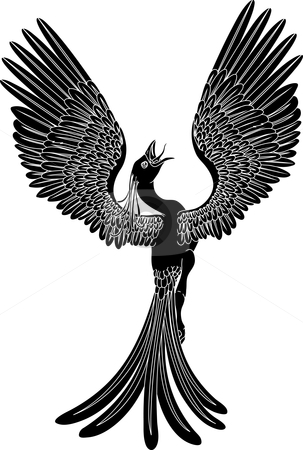 Monochrome phoenix stock vector clipart, A black and white phoenix in a pose with its wings outstretched and spread widely. by Christos Georghiou