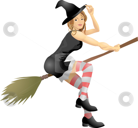 Sexy Witch stock vector clipart, An isolated young beautiful witch flying on her broomstick by Christos Georghiou