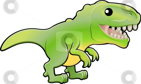 Cute tyrannosaurus rex dinosaur illustration stock vector clipart, A vector illustration of a cute tyrannosaurus rex dinosaur by Christos Georghiou
