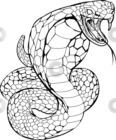 Cobra snake illustration stock vector clipart, Black and white illustration of a cobra snake preparing to strike by Christos Georghiou