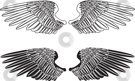 Black and White Wings stock vector clipart, An illustration of two pairs of outstretched wings by Christos Georghiou