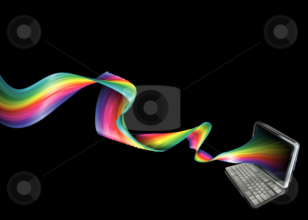 Rainbow laptop background stock vector clipart, A background banner illustration of a laptop with magical rainbow streaming out of it by Christos Georghiou