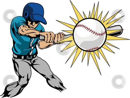 Illustration of baseball player hitting baseball stock vector clipart, Illustration of baseball player swinging bat to hit baseball by Christos Georghiou