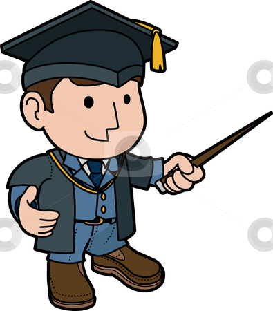 Illustration of professor  stock vector clipart, Illustration of professor in cap and gown teaching by Christos Georghiou