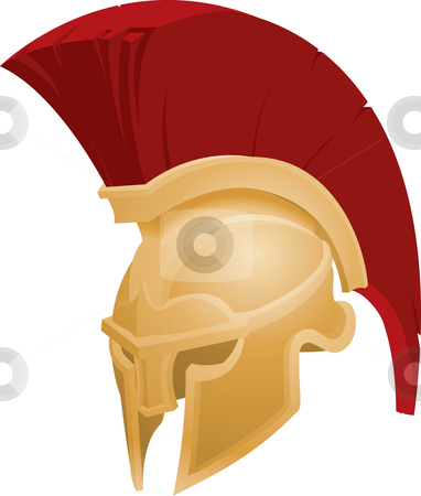 Illustration of Spartan helmet stock vector clipart, Illustration of Spartan or Trojan helmet by Christos Georghiou