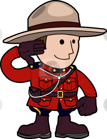 Illustration of mounty  stock vector clipart, Illustration of mounty standing and saluting by Christos Georghiou