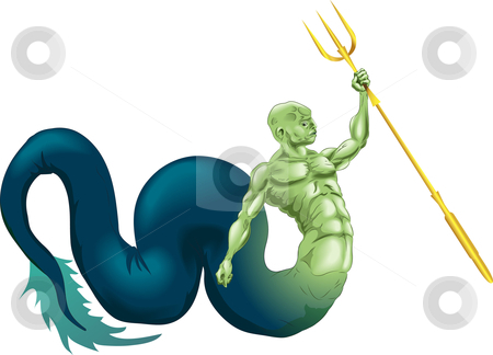 Merman or Poseidon stock vector clipart, A merman type sea creature or the god Poseidon (Neptune) from classical mythology by Christos Georghiou