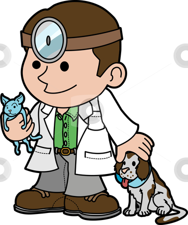 Illustration of veterinarian with animals stock vector clipart, Illustration of veterinarian holding cat and petting dog by Christos Georghiou