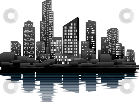 Night time city stock vector clipart, A vector illustration of a night time city skyline by Christos Georghiou