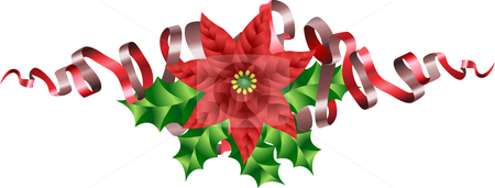 Christmas Poinsettia Holly and Ribbon Motif stock vector clipart, A Christmas Poinsettia Holly and Ribbon Motif by Christos Georghiou
