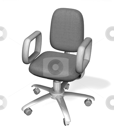 Illustration of an office chair stock photo, A stylised white 3D office chair. 3D object created especially for this series of illustrations by the artist. by Christos Georghiou