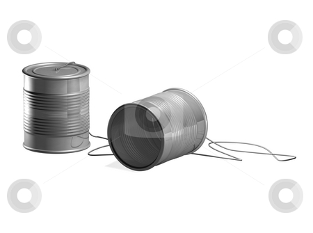 Tin can phone stock photo, Tin can phone toy. Two tin cans connected by string so two people can communicate through them by Christos Georghiou