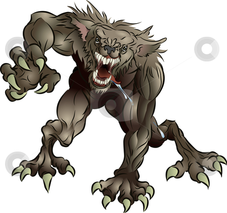 Snarling Scary Werewolf stock vector clipart, A mean snarling scary werewolf attacking the viewer by Christos Georghiou