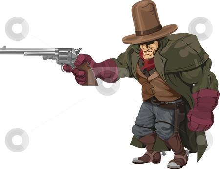 Cowboy gunman with pistol stock vector clipart, Illustration of cool mean looking cowboy gunman with pistol by Christos Georghiou