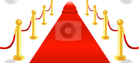 Red Carpet and Velvet Rope stock vector clipart, A red carpet and velvet rope with golden brass posts illustration. Representing luxury and v.i.p treatment. by Christos Georghiou