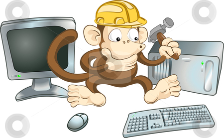 Construction monkey stock vector clipart, An illustration of a monkey in a hard hat trying to fix a computer with a hammer. Perhaps a  by Christos Georghiou