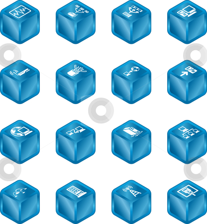 Network Computing Cube Icons Series Set.  stock vector clipart, A series of cube icons relating to computer networks. by Christos Georghiou