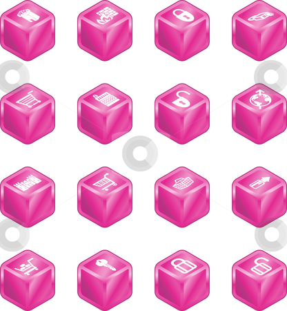 Security and E-Commerce Cube Icon Set Series stock vector clipart, Security and e-commerce cube icon set series. by Christos Georghiou