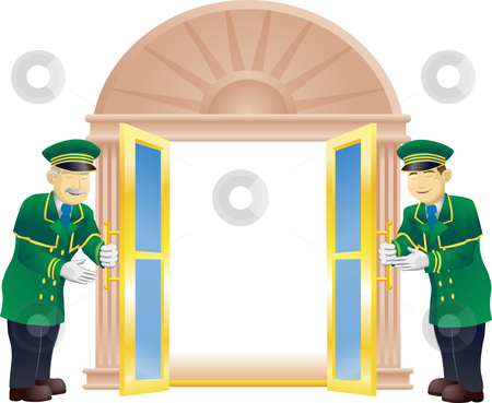Doormen stock vector clipart, Doormen holding a door open for the viewer like they are a VIP by Christos Georghiou