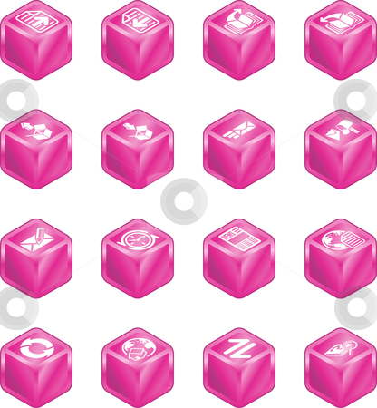 Internet Browser and Email Cube Icon Set Series stock vector clipart, A internet browser and email cube icon set series by Christos Georghiou