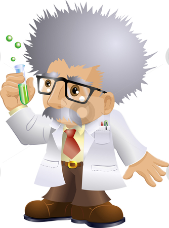 Nutty Professor stock vector clipart, Illustration of a kooky professor or scientist holding a test-tube by Christos Georghiou