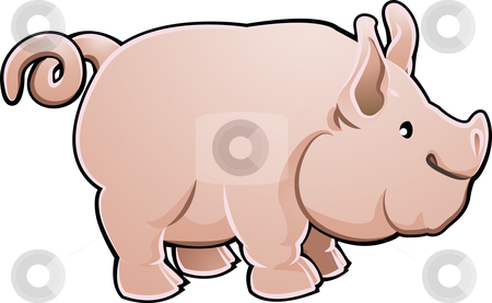 Cute Pig Farm Animal Vector Illustration stock vector clipart, A cute pig farm animal vector illustration by Christos Georghiou