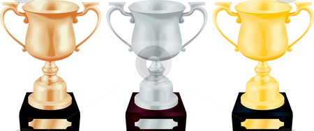 Gold Silver and Bronze Trophy Cups Vector Illustration stock vector clipart, Vector illustration of gold silver and bronze trophy cup by Christos Georghiou