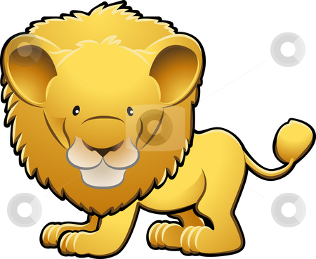 Cute Lion Vector Illustration stock vector clipart, A vector illustration of a cute lion by Christos Georghiou