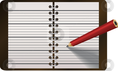 Pencil writing in diary vector illustration stock vector clipart, A vector illustration of a pencil writing in diary or other notebook by Christos Georghiou