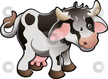 Cute Dairy Cow Vector Illustration stock vector clipart, Vector Illustration Of a Cute Dairy Cow by Christos Georghiou
